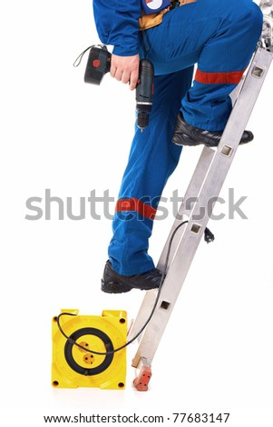 Close up legs Tecnician on the step-ladder against white background - stock photo