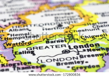 close up London on map.London is capital city of England and the United Kingdom. - stock photo