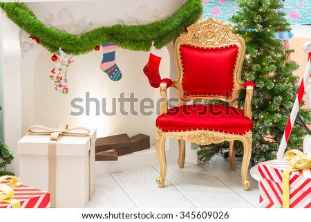 Close up luxurious red chair Santa Claus