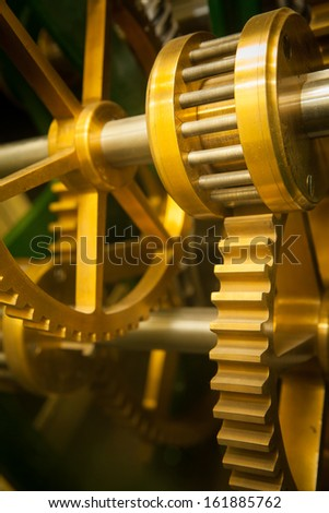 Close up Machine Gear cog, Teamwork  - stock photo