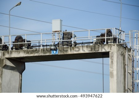 close up machine on dam in country Thailand