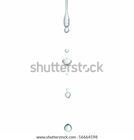 Close-up macro of a water drop droplet - isolated over white background - stock photo