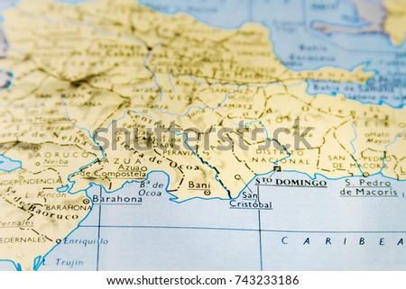 Close-up macro of map of Dominican Republic with focus on Santo Domingo