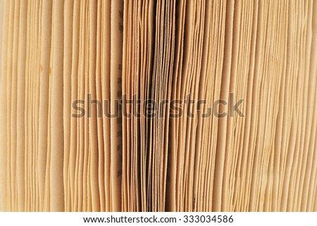close-up macro old vintage worn mottled edge photographed pages of an open book - stock photo