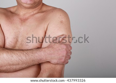 Close up male arm pain isolated white background.