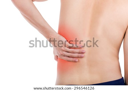 Close up male back pain isolated white background.