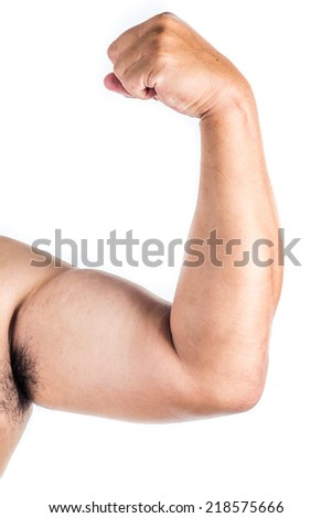 close up man muscle on white background