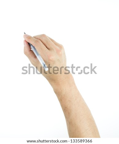 Close-up man's handwriting action isolated on white background - stock photo