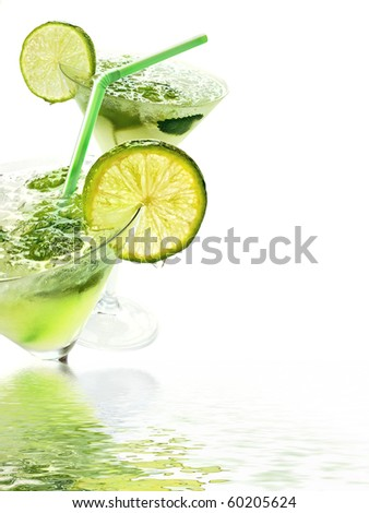 Close up margaritas with lime - stock photo