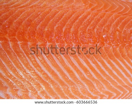 Close up meat texture of raw salmon fillet