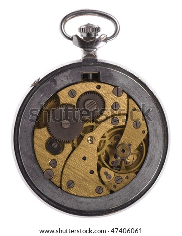 Close-up mechanism of old watch isolated on white background - stock photo