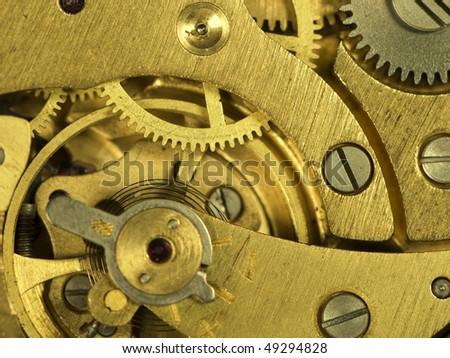 Close-up mechanism of old watch. Photo macro - stock photo