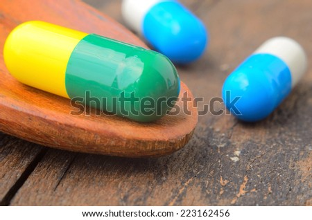 close up medicine capsule pill on spoon ,wood background