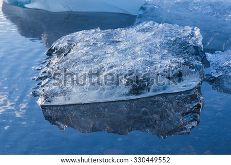 Close up melting ice breaking from iceberg, Jokulsarlon glacier Iceland