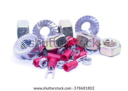 Close up metal nuts and hardware tools - stock photo