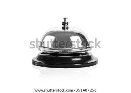 Close up metal service bell isolated on white background.