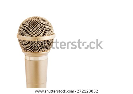 Close up Microphone isolated on white background with copy space - stock photo