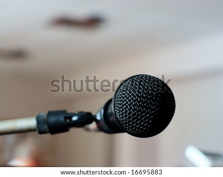 close-up microphone on the stage