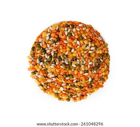 Close up Mix Legumes , isolated on white background - stock photo