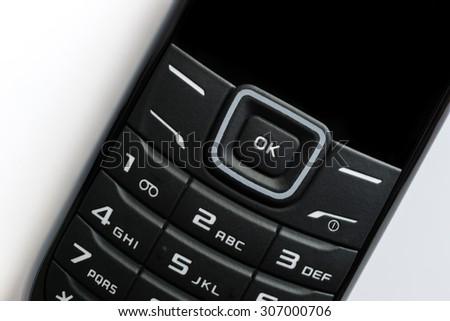 Close-up, mobile phone keypad - stock photo