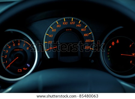 close up modern car dashboard