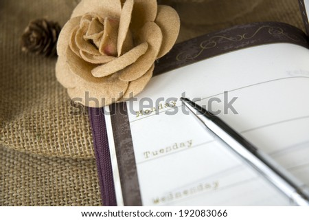close up monday on planner vintage style - stock photo