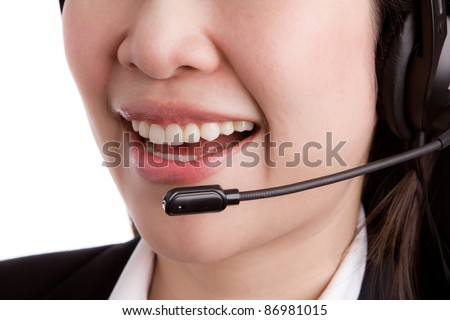 Close-up mouth of a friendly women call center operator - stock photo