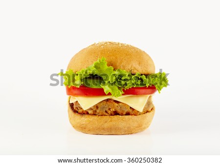 Close up natural beef hamburger on the background - stock photo