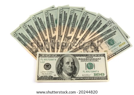 Close-up of a $100 and $20 banknotes - stock photo