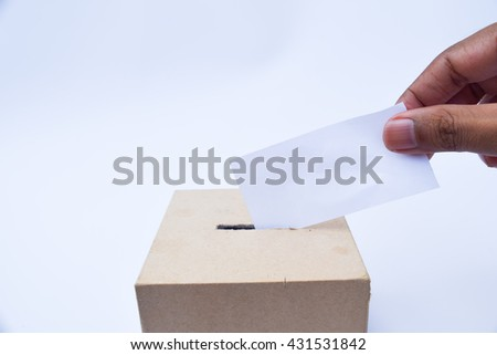 close up of a ballot box and casting vote on white background,election box - stock photo
