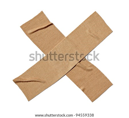 close up of  a bandage on white background with clipping path - stock photo