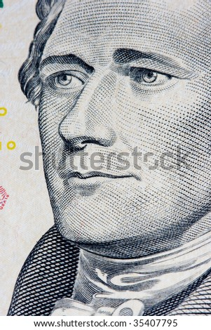 close up of a bank note of ten north american dollars - stock photo
