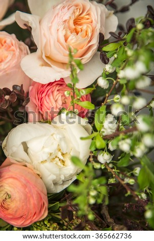 Close-up of a beautiful flower arrangement with peonies - stock photo