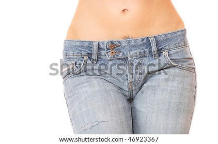 Close up of a beautiful woman wearing jeans isolated on a white background