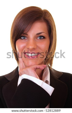 close-up of a beautiful young successful businesswoman smiling