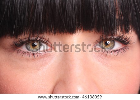 close up of a beautiful young woman eyes - stock photo