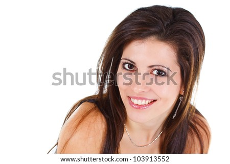 Close-up of a beautiful young woman's face, brown hair, brown eyes, smiling into camera - isolated on white - stock photo