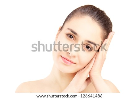 Close up of a beauty shot of young beautiful woman isolated on white background
