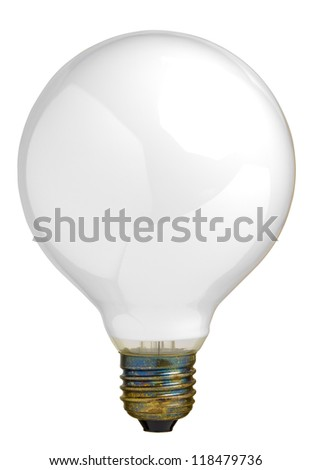 Close up of a big light bulb, isolated on white with clipping path - stock photo