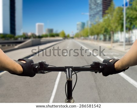 close up of a bike at high speed on the city - stock photo