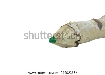Close-up of a Birch Bark Covered Green Pencil Made From Natural Birch Wood Twig, Isolated on White. - stock photo