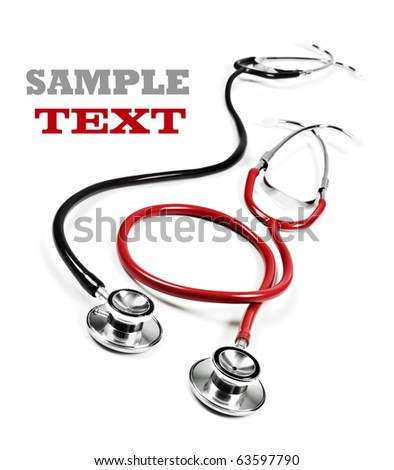 Close up of a black and red doctor's stethoscope on a white background with space for text - stock photo