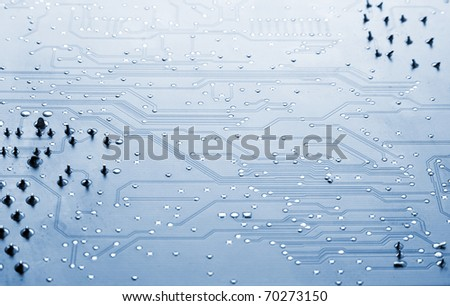 Close up of a blue computer circuit - stock photo