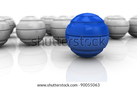 close up of a blue sphere with others in background (3d render)