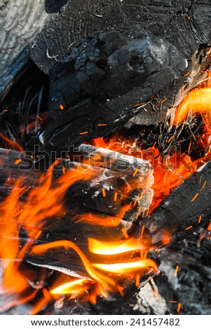 close-up of a bonfire in the night