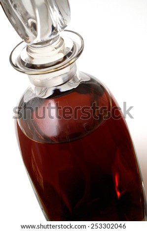Close up of a bottle of cognac - stock photo