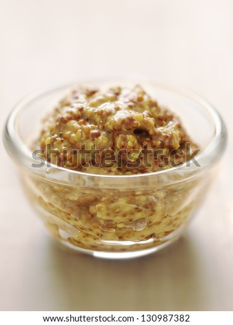 close up of a bowl of multigrain mustard