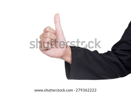 close up of a businessman hand showing thumbs up isolate on white background - stock photo