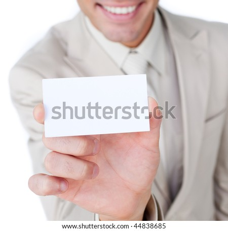 Close-up of a businessman holding a white card isolated on a white background
