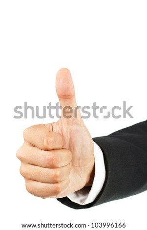 Close-up of a businessman's hand showing thumb up - isolated on white - stock photo